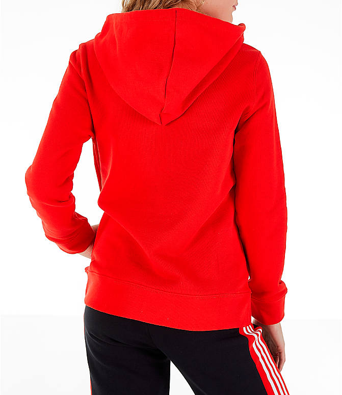 Back Right view of Women's adidas Originals Trefoil Logo Hoodie in Active Red