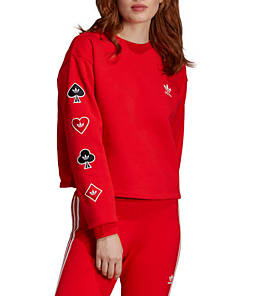 Women's adidas Originals V-Day Crop Crewneck Sweatshirt