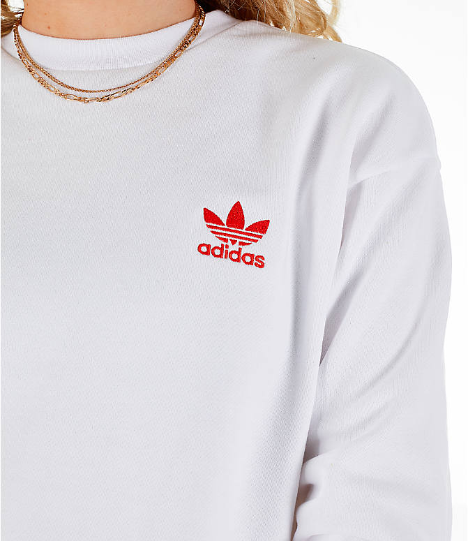 Detail 1 view of Women's adidas Originals V-Day Crew Sweatshirt in White/Red