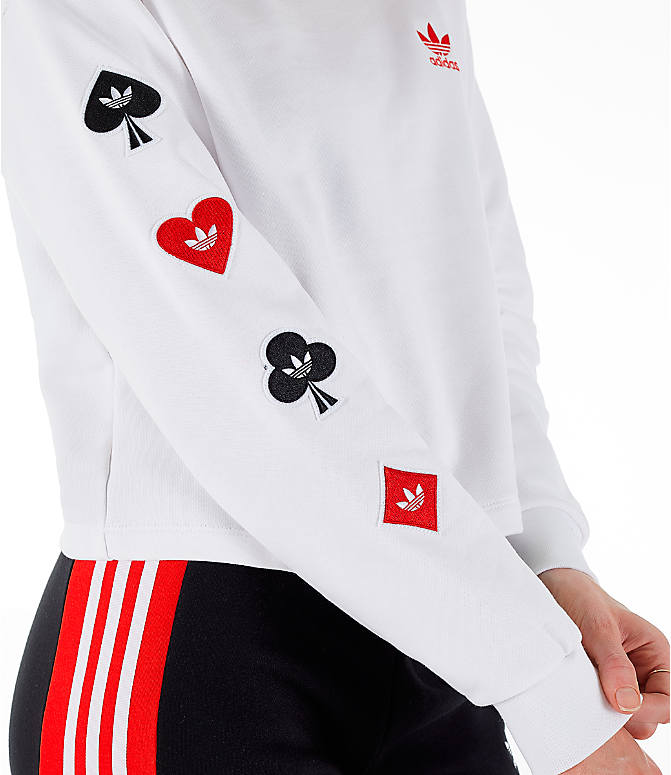 Detail 2 view of Women's adidas Originals V-Day Crew Sweatshirt in White/Red