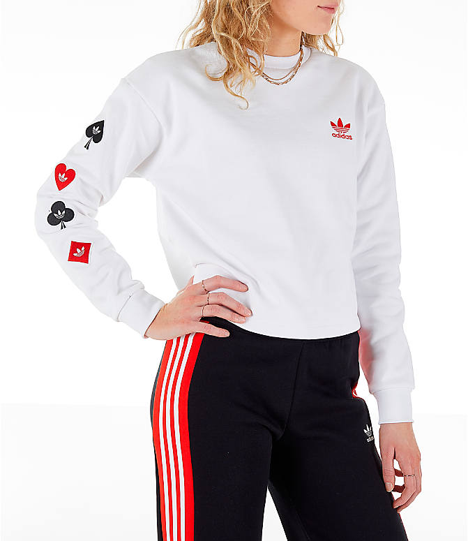 Front view of Women's adidas Originals V-Day Crew Sweatshirt in White/Red
