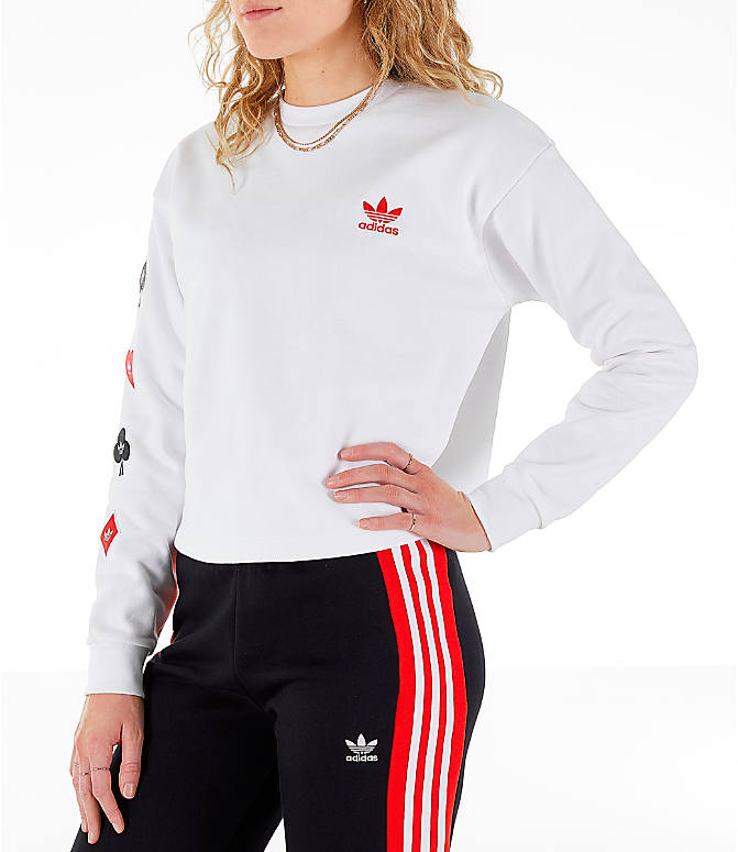 Front Three Quarter view of Women's adidas Originals V-Day Crew Sweatshirt in White/Red