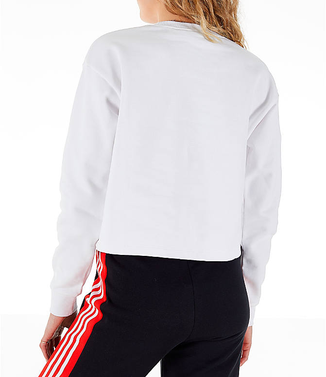 Back Left view of Women's adidas Originals V-Day Crew Sweatshirt in White/Red