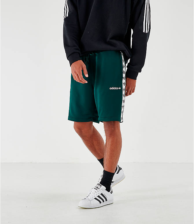 Front view of Men's adidas Originals Poly Tape Shorts in Green Night