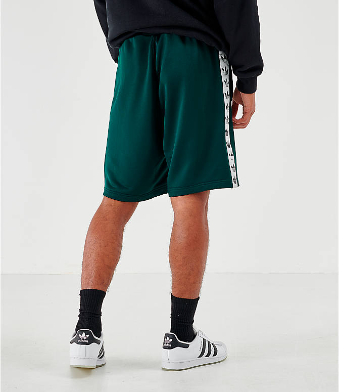 Back Right view of Men's adidas Originals Poly Tape Shorts in Green Night