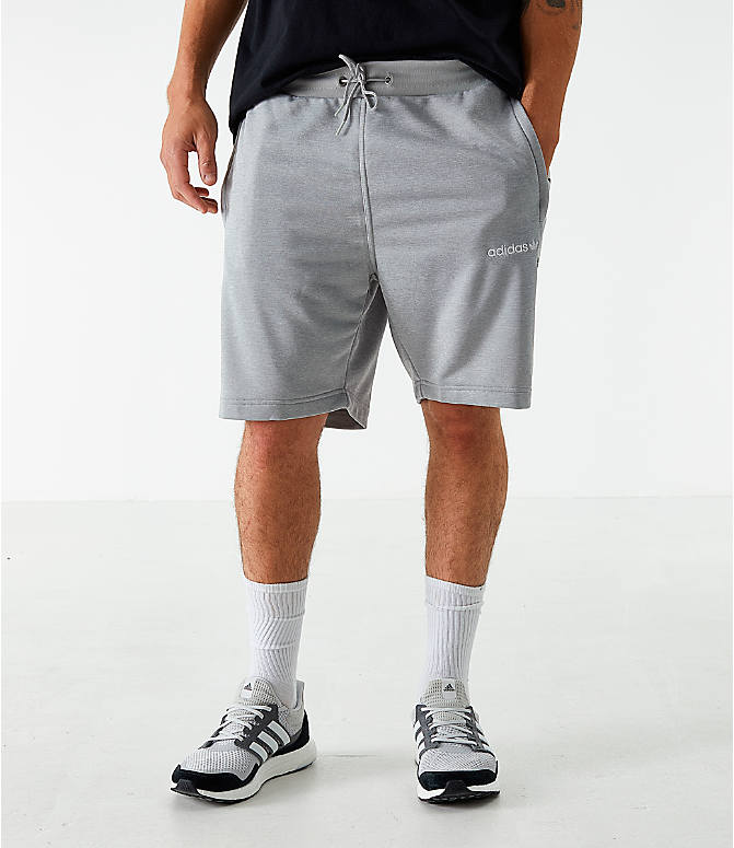 Front view of Men's adidas Originals Poly Tape Shorts in Grey