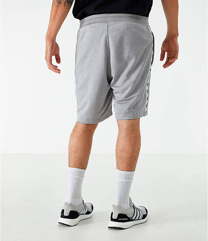 Back Left view of Men's adidas Originals Poly Tape Shorts in Grey