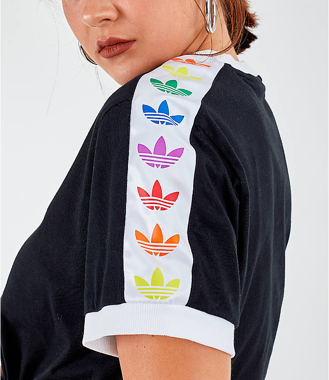 Back Right view of Women's adidas Originals Pride Trefoil Tape T-Shirt in Black/White