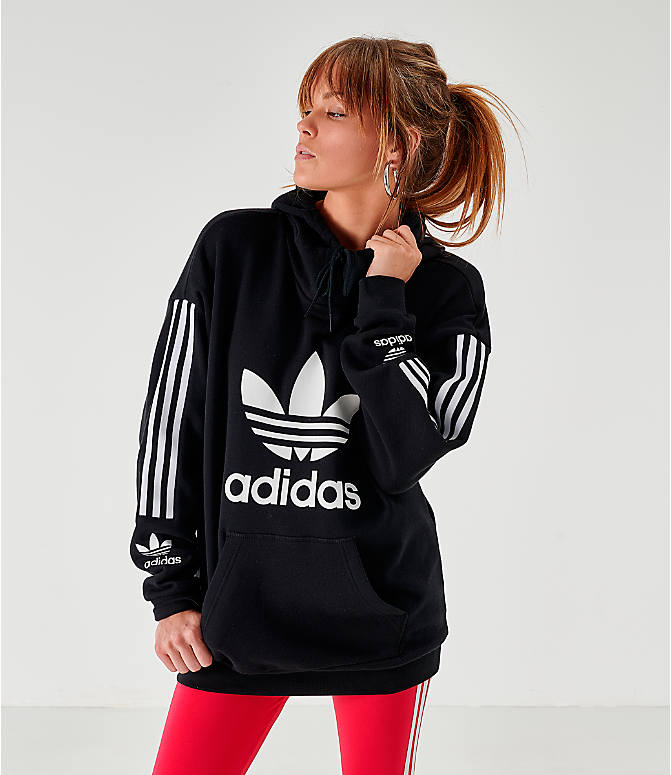 Front view of Women's adidas Originals Lockup Hoodie in Black/White