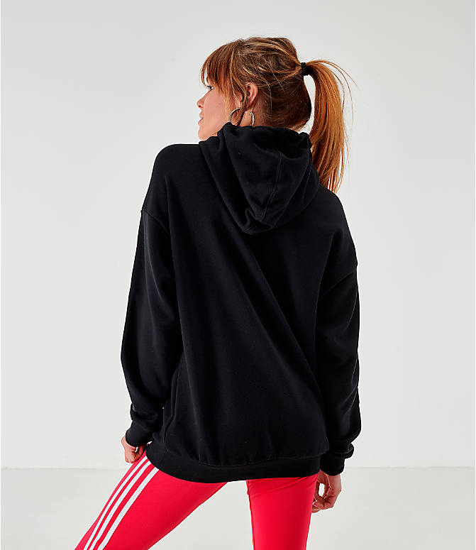 Back Left view of Women's adidas Originals Lockup Hoodie in Black/White