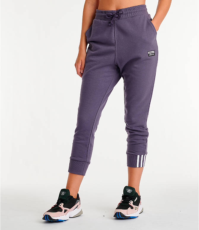 0b390307fb8e Front view of Women's adidas Originals Cuffed Jogger Pants in Trace Purple