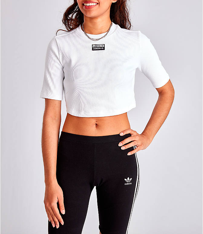 Front view of Women's adidas Originals Tropicalage Crop T-Shirt in White/Black