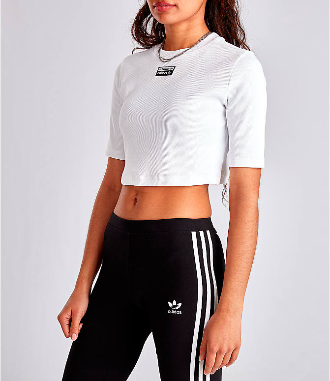 Front Three Quarter view of Women's adidas Originals Tropicalage Crop T-Shirt in White/Black