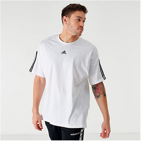 Adidas Originals T-shirts ADIDAS MEN'S BADGE OF SPORT STRIPE T-SHIRT IN WHITE SIZE X-LARGE