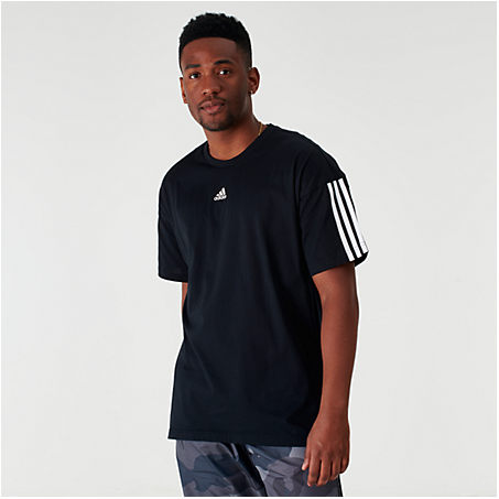 Adidas Originals T-shirts ADIDAS MEN'S BADGE OF SPORT STRIPE T-SHIRT IN BLACK SIZE 2X-LARGE