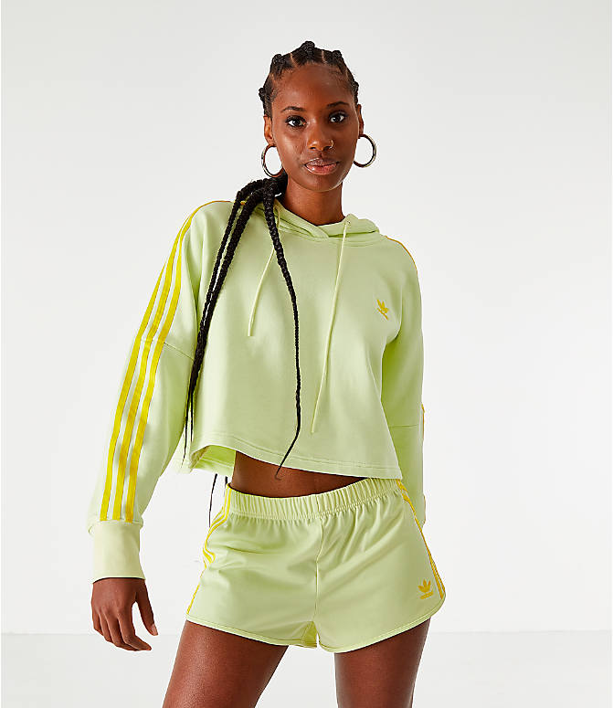 Front view of Women's adidas Cropped Hoodie in Ice Yellow