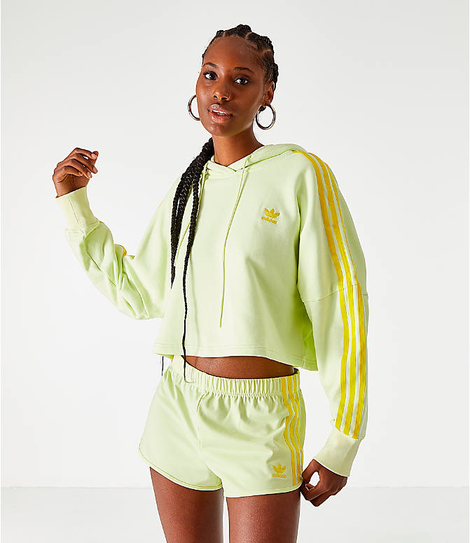 Back Left view of Women's adidas Cropped Hoodie in Ice Yellow