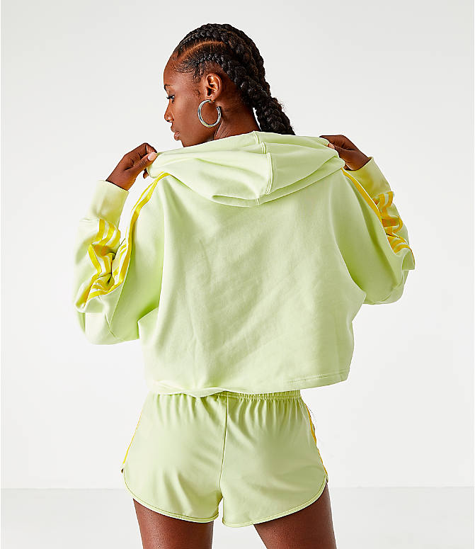 Back Right view of Women's adidas Cropped Hoodie in Ice Yellow