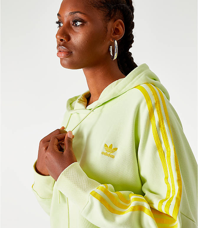 On Model 5 view of Women's adidas Cropped Hoodie in Ice Yellow