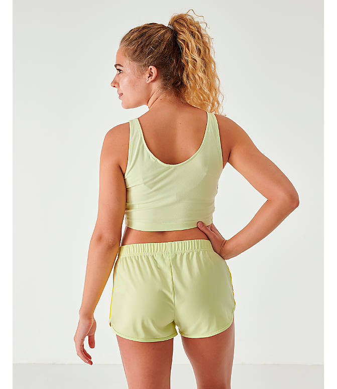 Back Left view of Women's adidas Originals Crop Tank in Ice Yellow