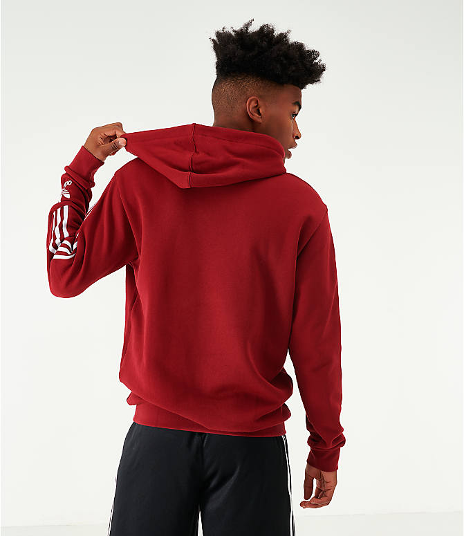 Back Left view of Men's adidas Originals Lock Up Hoodie in Burgundy/White