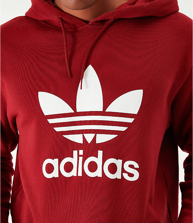 Back Right view of Men's adidas Originals Lock Up Hoodie in Burgundy/White