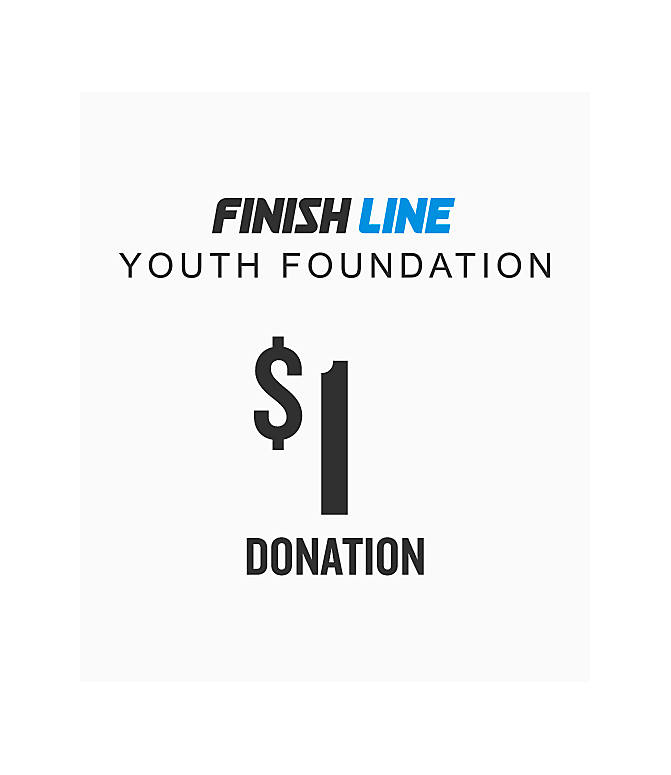 Front view of Finish Line Youth Foundation Donation in $1 Donation