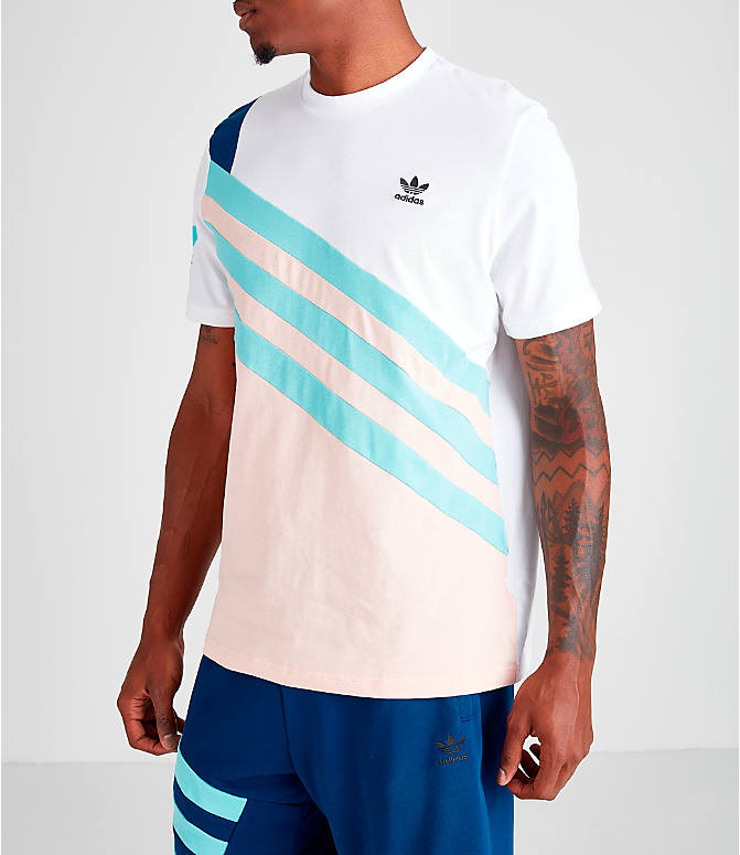 Front Three Quarter view of Men's adidas Originals 90's Summer T-Shirt in Vapour Pink