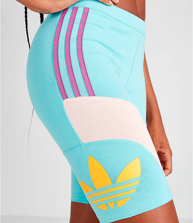 Detail 2 view of Women's adidas Originals '90s Bike Shorts in Mint/Pink