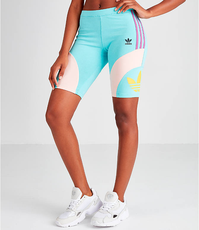 Front view of Women's adidas Originals '90s Bike Shorts in Mint/Pink