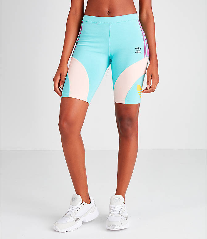 Front Three Quarter view of Women's adidas Originals '90s Bike Shorts in Mint/Pink