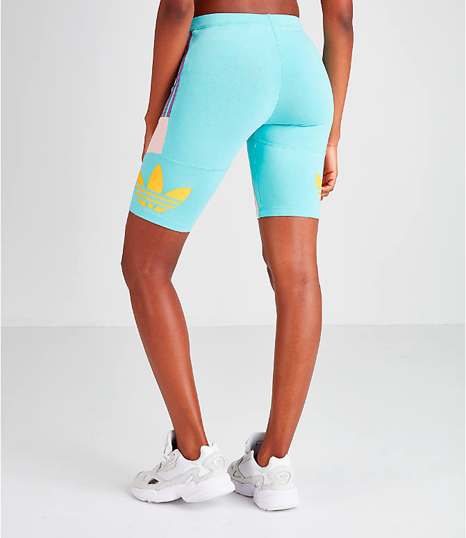 Back Left view of Women's adidas Originals '90s Bike Shorts in Mint/Pink