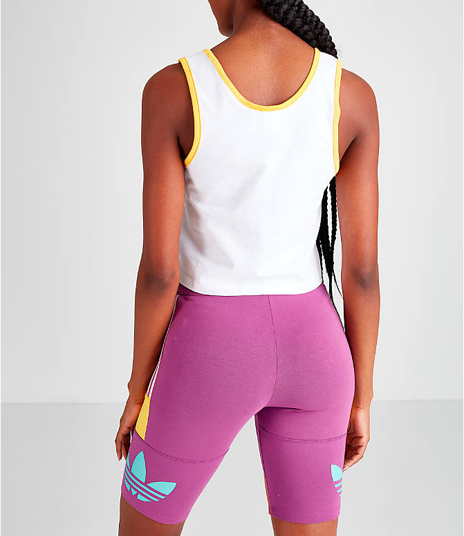 Back Left view of Women's adidas Original '90s Crop Tank in White/Mint