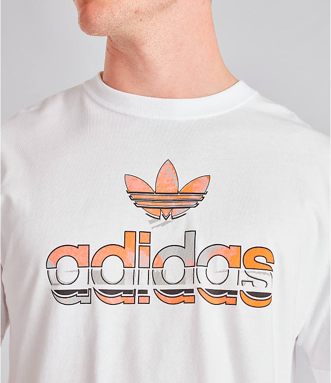 Detail 1 view of Men's adidas Originals Graphic Label T-Shirt in White/Orange