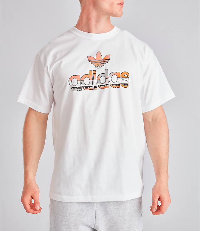 Front view of Men's adidas Originals Graphic Label T-Shirt in White/Orange