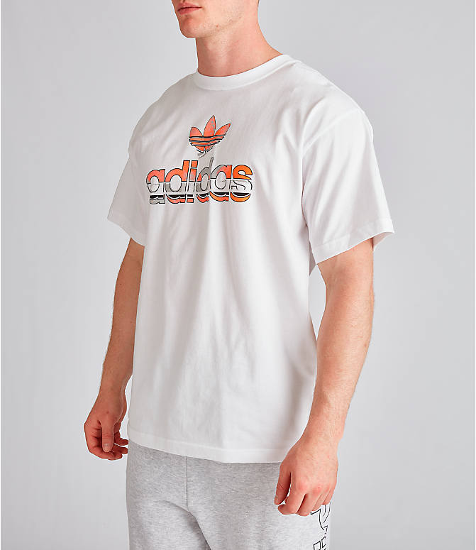 Front Three Quarter view of Men's adidas Originals Graphic Label T-Shirt in White/Orange