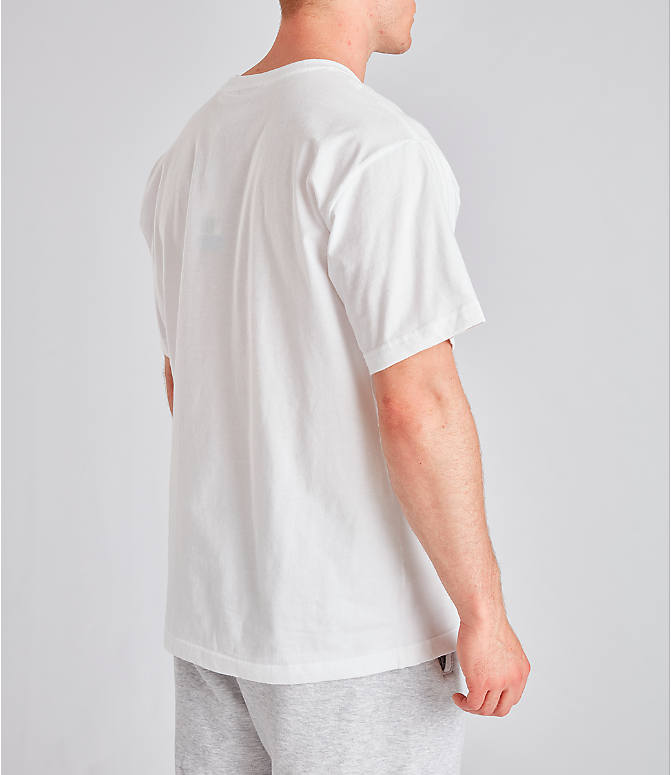 Back Right view of Men's adidas Originals Graphic Label T-Shirt in White/Orange