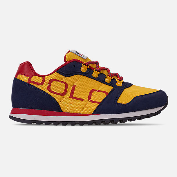 Right view of Boys' Little Kids' Polo Ralph Lauren Oryion Casual Shoes in Navy/Yellow/Red