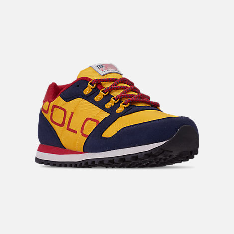 Three Quarter view of Boys' Little Kids' Polo Ralph Lauren Oryion Casual Shoes in Navy/Yellow/Red