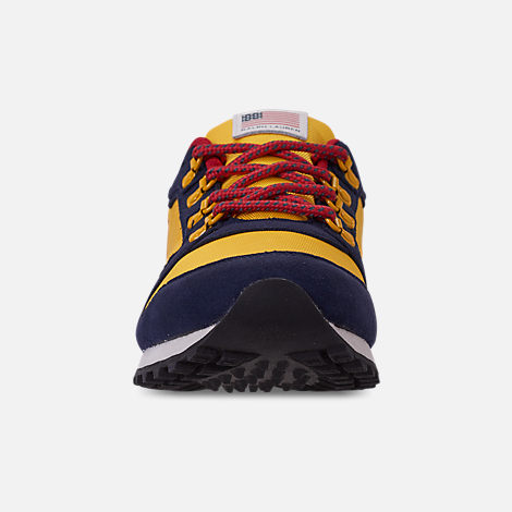 Front view of Boys' Little Kids' Polo Ralph Lauren Oryion Casual Shoes in Navy/Yellow/Red