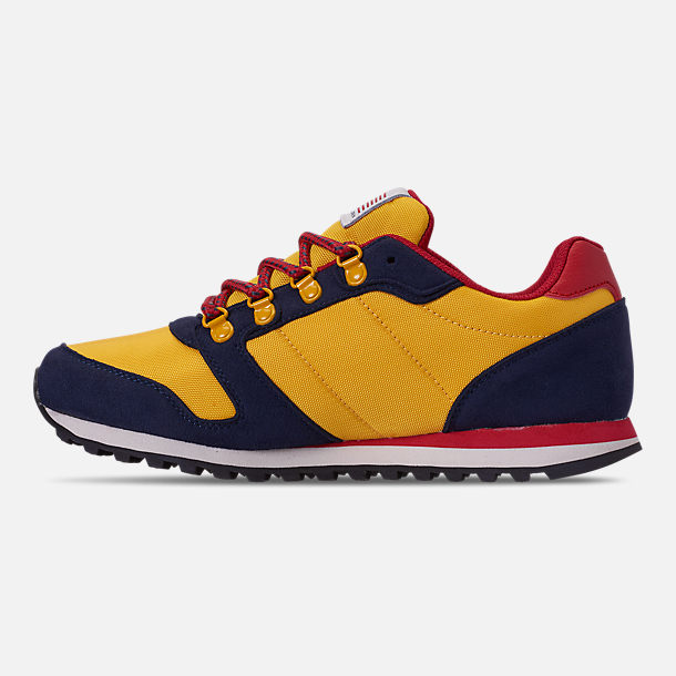 Left view of Boys' Little Kids' Polo Ralph Lauren Oryion Casual Shoes in Navy/Yellow/Red