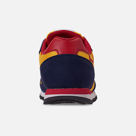 Back view of Boys' Little Kids' Polo Ralph Lauren Oryion Casual Shoes in Navy/Yellow/Red