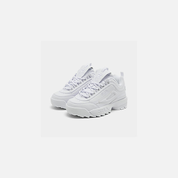 Three Quarter view of Big Kids' Fila Disruptor II Casual Shoes in White/White/White
