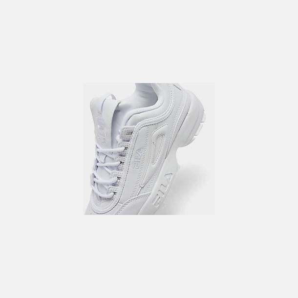 Front view of Big Kids' Fila Disruptor 2 Premium Casual Shoes in White/White/White