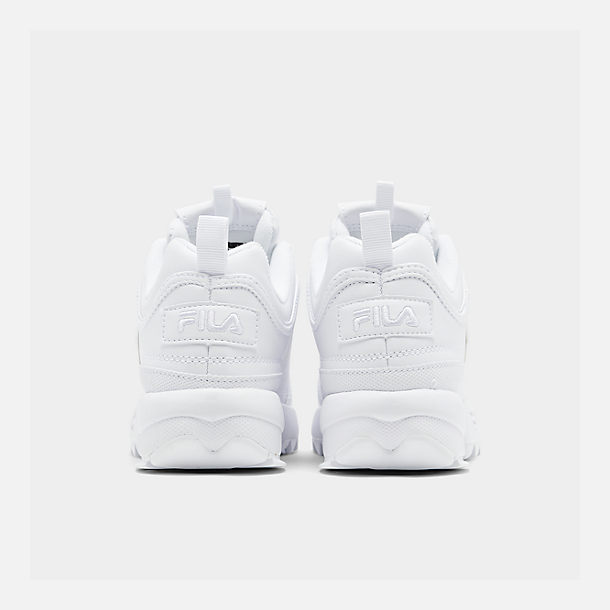 Left view of Big Kids' Fila Disruptor II Casual Shoes in White/White/White