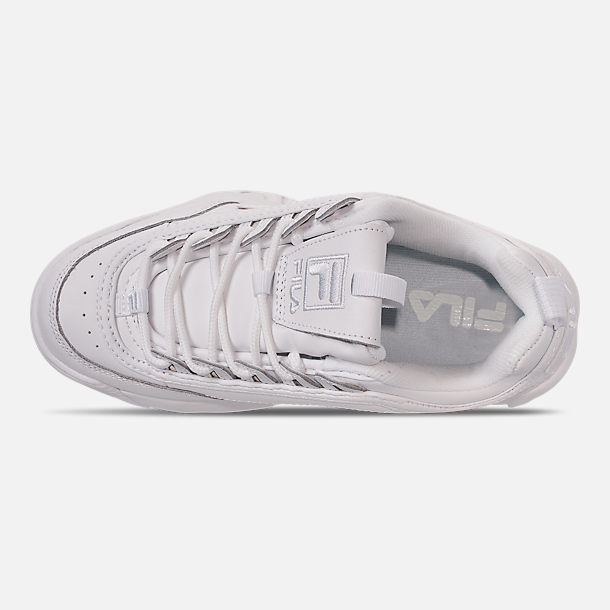 Top view of Big Kids' Fila Disruptor II Casual Shoes in White/White/White