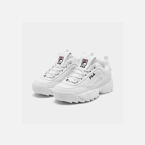 b301ff2d32f8 Three Quarter view of Little Kids  Fila Disruptor II Casual Shoes in White  Navy