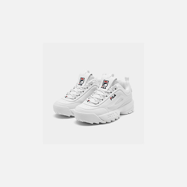 Three Quarter view of Big Kids' Fila Disruptor 2 Premium Casual Shoes in White/Navy/Red