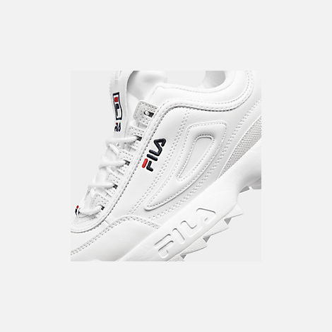Front view of Boys' Big Kids' Fila Disruptor II Casual Shoes in White/Navy/Red