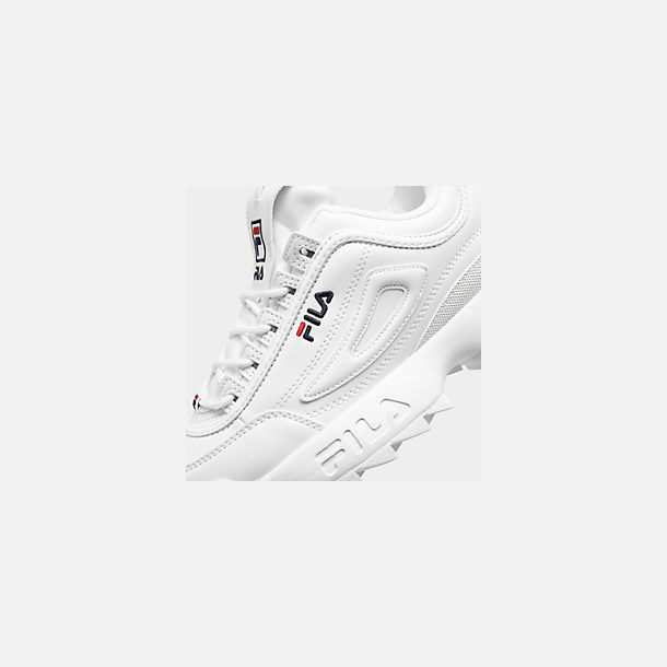 Front view of Big Kids' Fila Disruptor 2 Premium Casual Shoes in White/Navy/Red